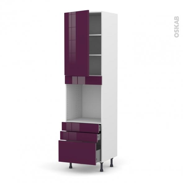 Colonne de cuisine N°2459 - Four encastrable niche 60 - KERIA Aubergine - 1 porte 3 tiroirs - L60 x H217 x P58 cm
