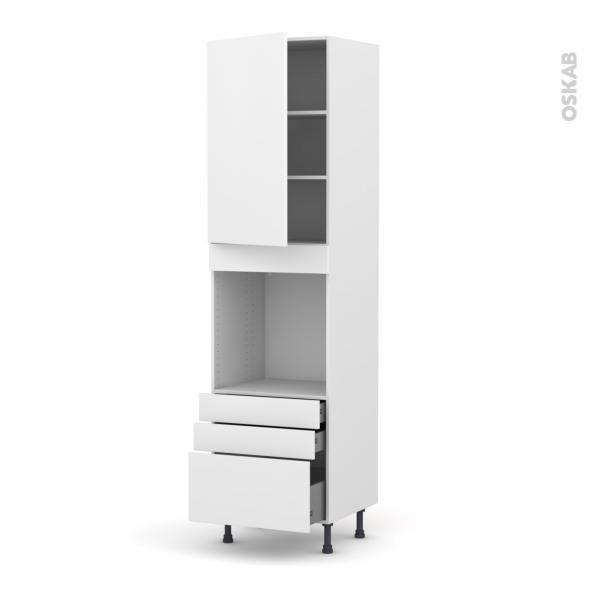 Colonne de cuisine N°2459 - Four encastrable niche 60 - GINKO Blanc - 1 porte 3 tiroirs - L60 x H217 x P58 cm