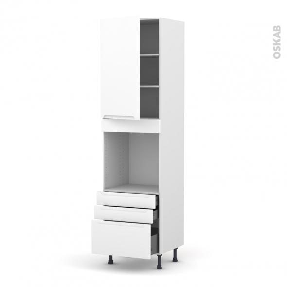 Colonne de cuisine N°2459 - Four encastrable niche 60 - PIMA Blanc - 1 porte 3 tiroirs - L60 x H217 x P58 cm
