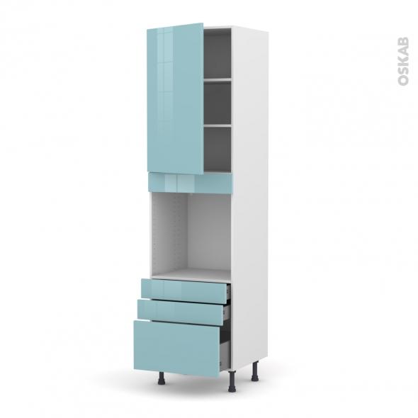Colonne de cuisine N°2459 - Four encastrable niche 60 - KERIA Bleu - 1 porte 3 tiroirs - L60 x H217 x P58 cm