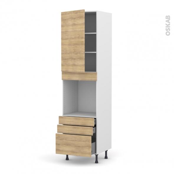 Colonne de cuisine N°2459 - Four encastrable niche 60 - HOSTA Chêne naturel - 1 porte 3 tiroirs - L60 x H217 x P58 cm