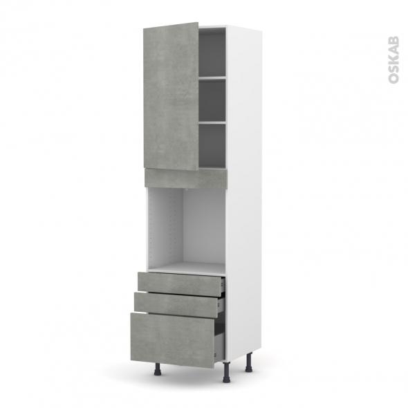 Colonne de cuisine N°2459 - Four encastrable niche 60 - FAKTO Béton - 1 porte 3 tiroirs - L60 x H217 x P58 cm