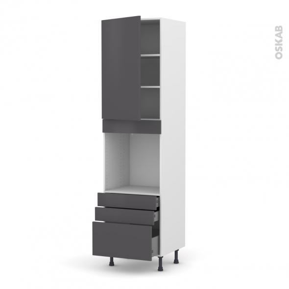 Colonne de cuisine N°2459 - Four encastrable niche 60 - GINKO Gris - 1 porte 3 tiroirs - L60 x H217 x P58 cm