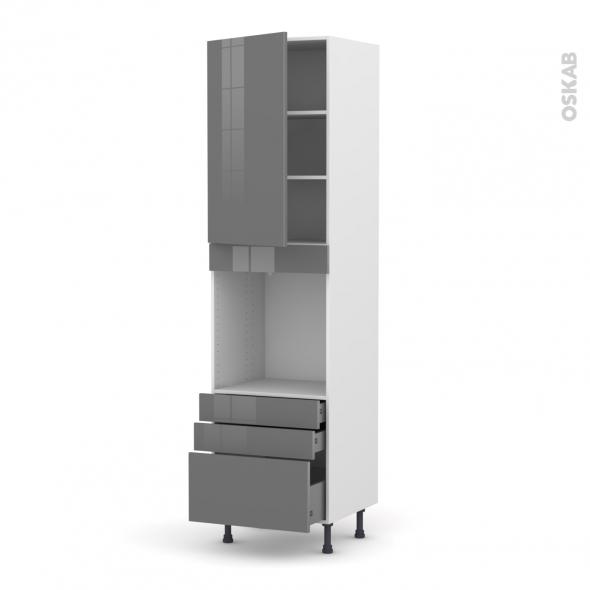 Colonne de cuisine N°2459 - Four encastrable niche 60 - STECIA Gris - 1 porte 3 tiroirs - L60 x H217 x P58 cm