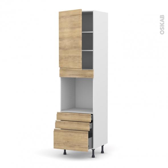 Colonne de cuisine N°2459 - Four encastrable niche 60 - IPOMA Chêne naturel - 1 porte 3 tiroirs - L60 x H217 x P58 cm