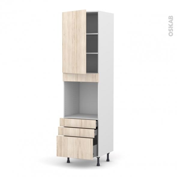 Colonne de cuisine N°2459 - Four encastrable niche 60 - IKORO Chêne clair - 1 porte 3 tiroirs - L60 x H217 x P58 cm