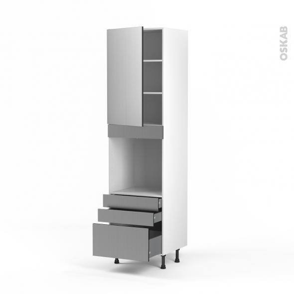 STILO Inox - Colonne Four N°2459  - 1 porte 3 tiroirs - L60xH217xP58