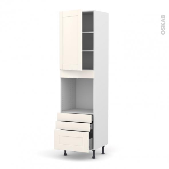 Colonne de cuisine N°2459 - Four encastrable niche 60 - FILIPEN Ivoire - 1 porte 3 tiroirs - L60 x H217 x P58 cm