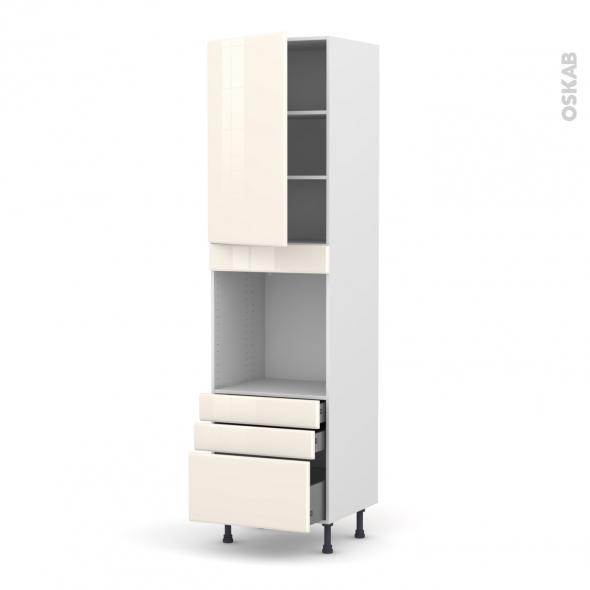 IRIS Ivoire - Colonne Four N°2459  - 1 porte 3 tiroirs - L60xH217xP58