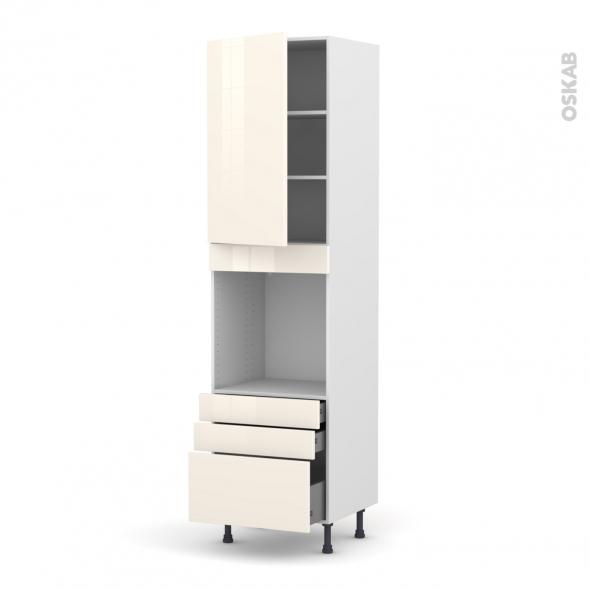 Colonne de cuisine N°2459 - Four encastrable niche 60 - KERIA Ivoire - 1 porte 3 tiroirs - L60 x H217 x P58 cm