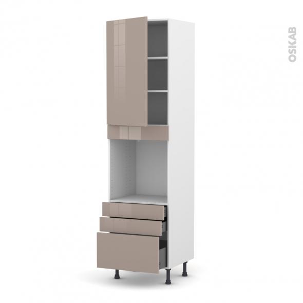 KERIA Moka - Colonne Four N°2459  - 1 porte 3 tiroirs - L60xH217xP58