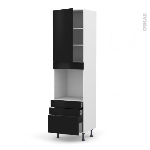Colonne de cuisine N°2459 - Four encastrable niche 60 - GINKO Noir - 1 porte 3 tiroirs - L60 x H217 x P58 cm