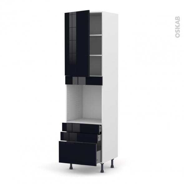Colonne de cuisine N°2459 - Four encastrable niche 60 - KERIA Noir - 1 porte 3 tiroirs - L60 x H217 x P58 cm