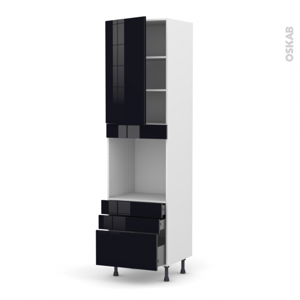 KERIA Noir - Colonne Four N°2459  - 1 porte 3 tiroirs - L60xH217xP58