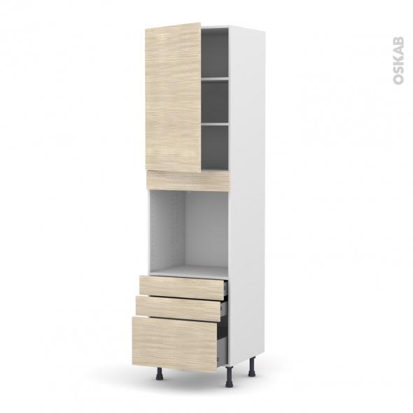Colonne de cuisine N°2459 - Four encastrable niche 60 - STILO Noyer Blanchi - 1 porte 3 tiroirs - L60 x H217 x P58 cm