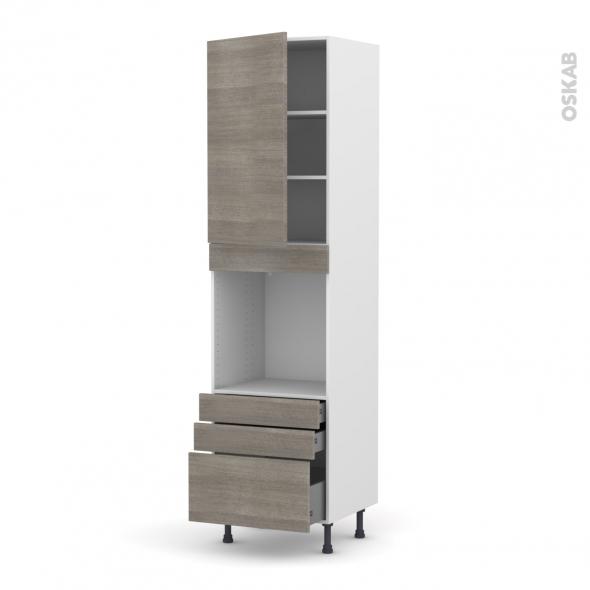 Colonne de cuisine N°2459 - Four encastrable niche 60 - STILO Noyer Naturel - 1 porte 3 tiroirs - L60 x H217 x P58 cm