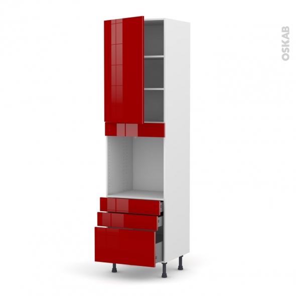 Colonne de cuisine N°2459 - Four encastrable niche 60 - STECIA Rouge - 1 porte 3 tiroirs - L60 x H217 x P58 cm