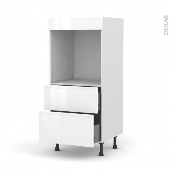Colonne de cuisine N°58 - Four encastrable niche 60 - IPOMA Blanc brillant - 2 casseroliers - L60 x H125 x P58 cm