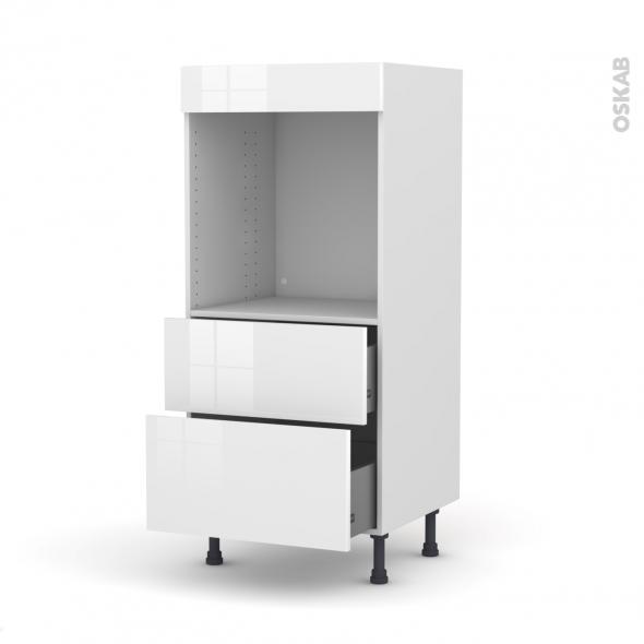 Colonne de cuisine N°58 - Four encastrable niche 60 - STECIA Blanc - 2 casseroliers - L60 x H125 x P58 cm