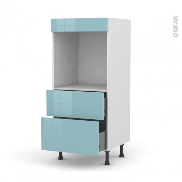 Colonne de cuisine N°58 - Four encastrable niche 60 - KERIA Bleu - 2 casseroliers - L60 x H125 x P58 cm
