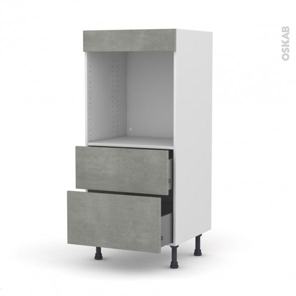 Colonne de cuisine N°58 - Four encastrable niche 60 - FAKTO Béton - 2 casseroliers - L60 x H125 x P58 cm