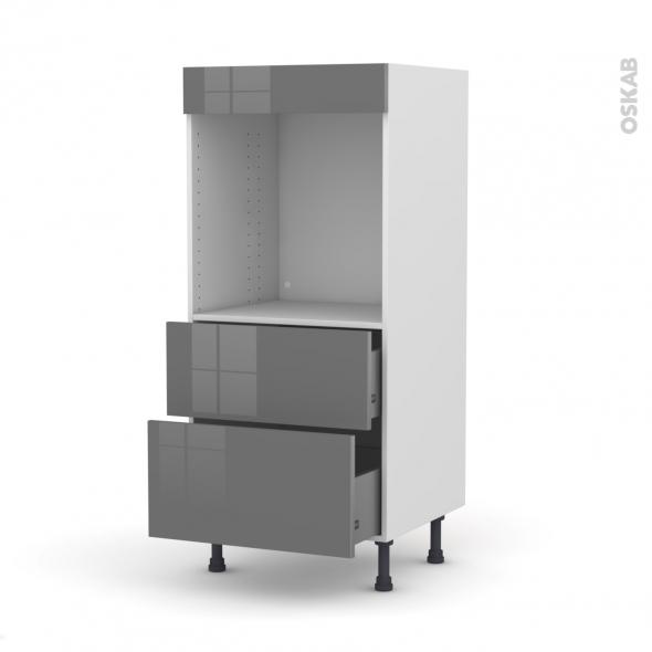 Colonne de cuisine N°58 - Four encastrable niche 60 - STECIA Gris - 2 casseroliers - L60 x H125 x P58 cm