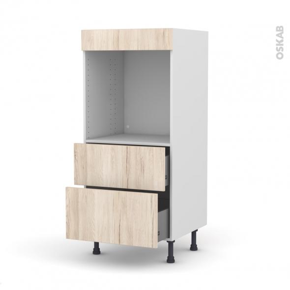 Colonne de cuisine N°58 - Four encastrable niche 60 - IKORO Chêne clair - 2 casseroliers - L60 x H125 x P58 cm