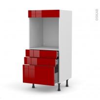Colonne de cuisine N°59 - Four encastrable niche 60 - STECIA Rouge - 3 tiroirs - L60 x H125 x P58 cm