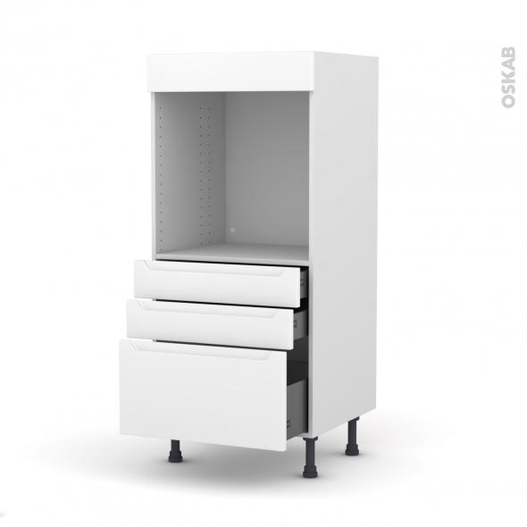Colonne de cuisine N°59 - Four encastrable niche 60 - PIMA Blanc - 3 tiroirs - L60 x H125 x P58 cm