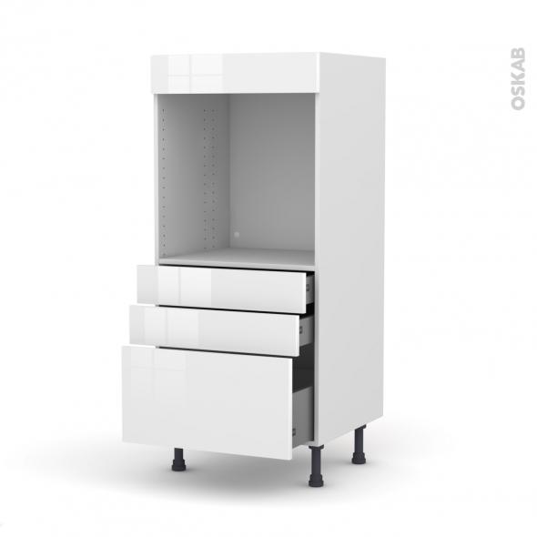 Colonne de cuisine N°59 - Four encastrable niche 60 - STECIA Blanc - 3 tiroirs - L60 x H125 x P58 cm