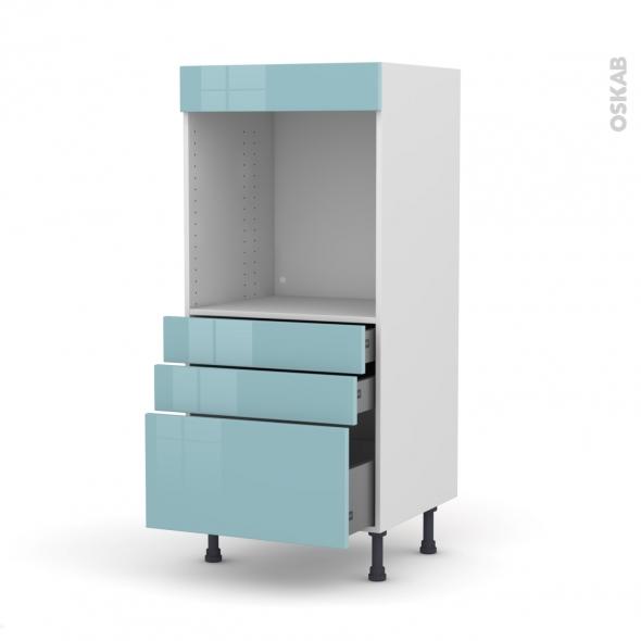 Colonne de cuisine N°59 - Four encastrable niche 60 - KERIA Bleu - 3 tiroirs - L60 x H125 x P58 cm