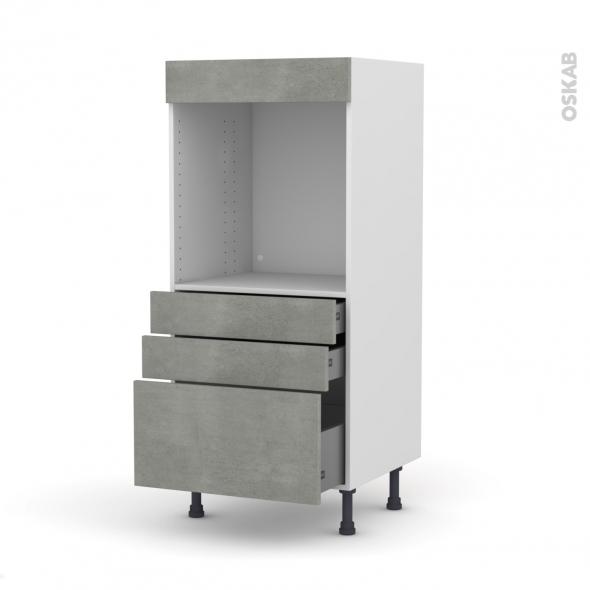 FAKTO Béton - Colonne Four N°59  - 3 tiroirs - L60xH125xP58