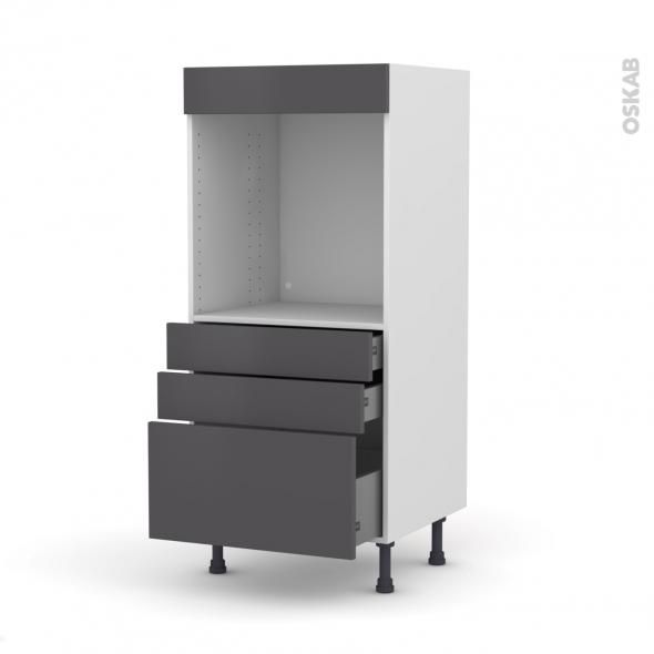 Colonne de cuisine N°59 - Four encastrable niche 60 - GINKO Gris - 3 tiroirs - L60 x H125 x P58 cm