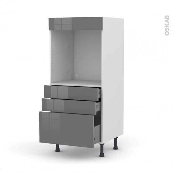 Colonne de cuisine N°59 - Four encastrable niche 60 - STECIA Gris - 3 tiroirs - L60 x H125 x P58 cm