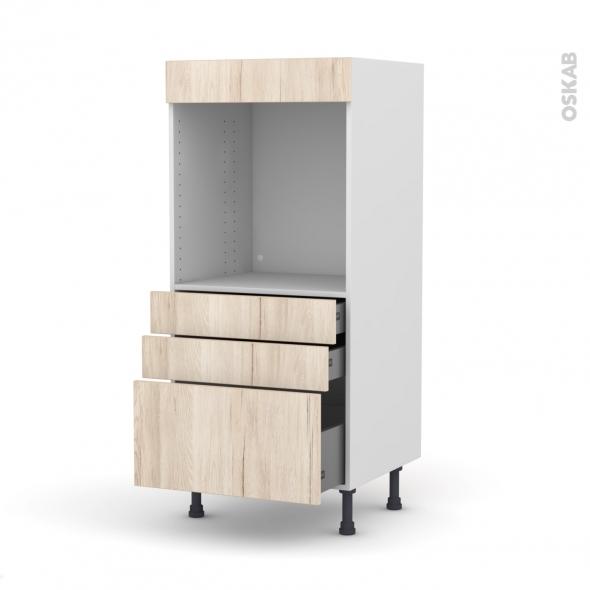 Colonne de cuisine N°59 - Four encastrable niche 60 - IKORO Chêne clair - 3 tiroirs - L60 x H125 x P58 cm