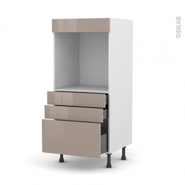 Colonne de cuisine N°59 - Four encastrable niche 60 - KERIA Moka - 3 tiroirs - L60 x H125 x P58 cm