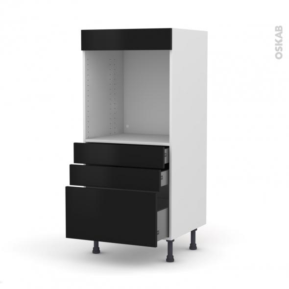 Colonne de cuisine N°59 - Four encastrable niche 60 - GINKO Noir - 3 tiroirs - L60 x H125 x P58 cm