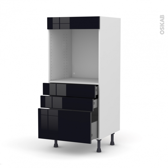 Colonne de cuisine N°59 - Four encastrable niche 60 - KERIA Noir - 3 tiroirs - L60 x H125 x P58 cm