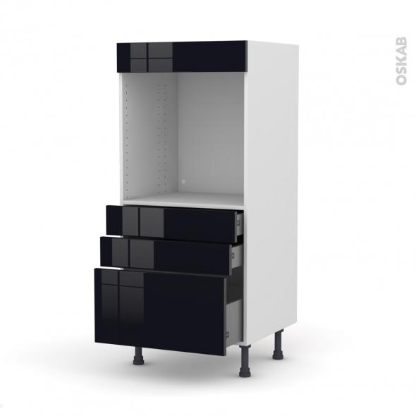 KERIA Noir - Colonne Four N°59  - 3 tiroirs - L60xH125xP58