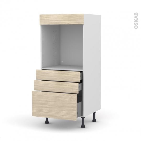Colonne de cuisine N°59 - Four encastrable niche 60 - STILO Noyer Blanchi - 3 tiroirs - L60 x H125 x P58 cm