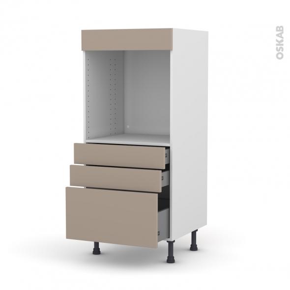 Colonne de cuisine N°59 - Four encastrable niche 60 - GINKO Taupe - 3 tiroirs - L60 x H125 x P58 cm