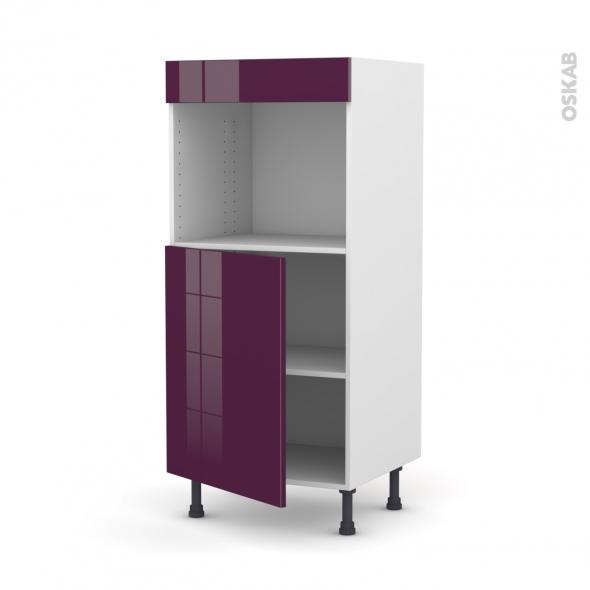 Colonne de cuisine N°21 - Four encastrable niche 45 - KERIA Aubergine - 1 porte - L60 x H125 x P58 cm