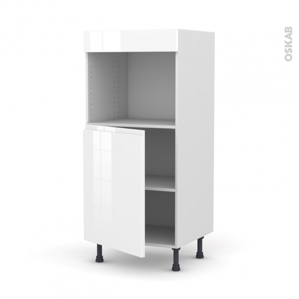 Colonne de cuisine N°21 - Four encastrable niche 45  - IPOMA Blanc brillant - 1 porte - L60 x H125 x P58 cm