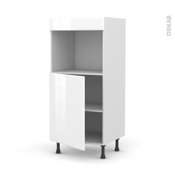 Colonne de cuisine N°21 - Four encastrable niche 45  - IRIS Blanc - 1 porte - L60 x H125 x P58 cm