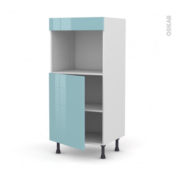 Colonne de cuisine N°21 - Four encastrable niche 45  - KERIA Bleu - 1 porte - L60 x H125 x P58 cm