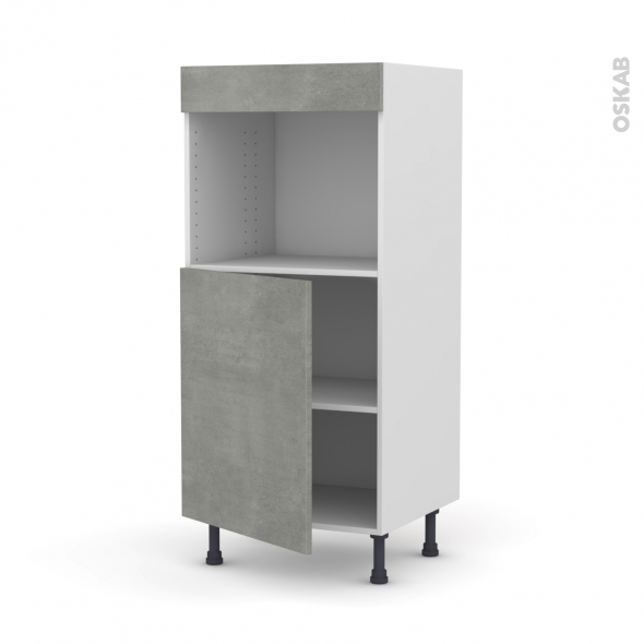 Colonne de cuisine N°21 - Four encastrable niche 45  - FAKTO Béton - 1 porte - L60 x H125 x P58 cm