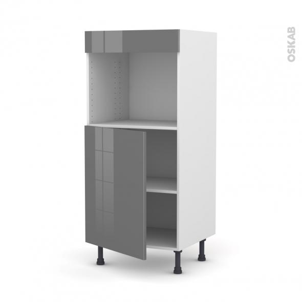 Colonne de cuisine N°21 - Four encastrable niche 45  - STECIA Gris - 1 porte - L60 x H125 x P58 cm