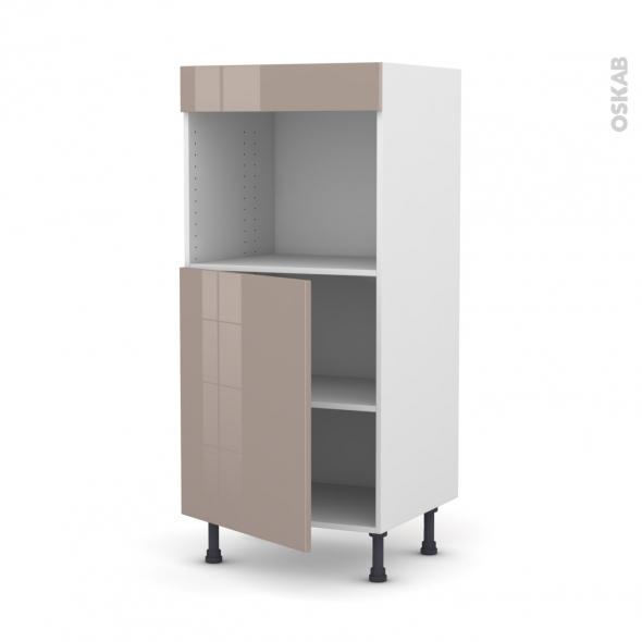 Colonne de cuisine N°21 - Four encastrable niche 45  - KERIA Moka - 1 porte - L60 x H125 x P58 cm