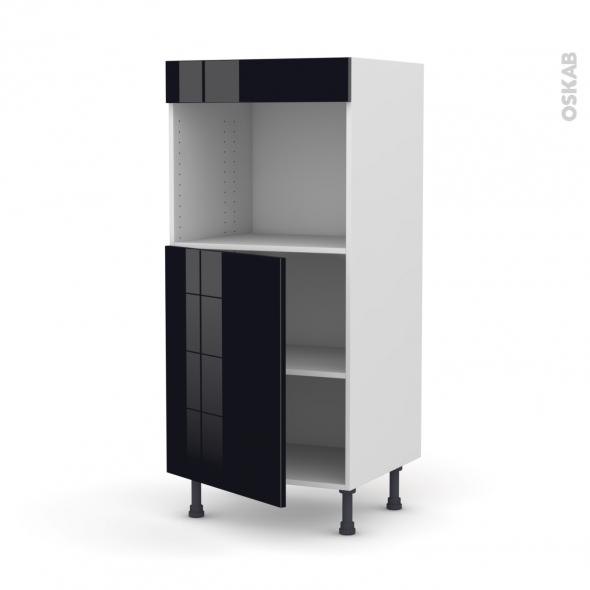 Colonne de cuisine N°21 - Four encastrable niche 45  - KERIA Noir - 1 porte - L60 x H125 x P58 cm