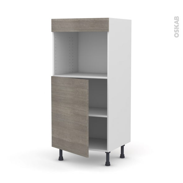 Colonne de cuisine N°21 - Four encastrable niche 45  - STILO Noyer Naturel - 1 porte - L60 x H125 x P58 cm